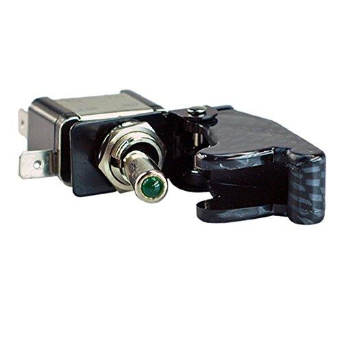 Mintice™ Interrupteur Commutateur à Bascule Levier SPST ON/OFF Couvercle Fibre Carbon Vert Lumière LED 20A 12V pour Voiture Camion Bateau Moto