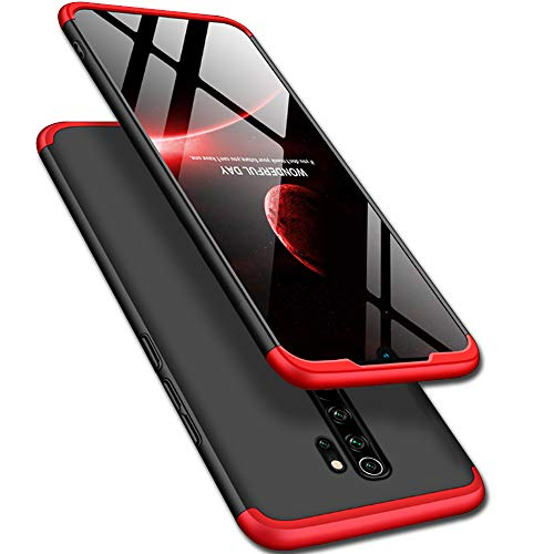 TheGiftKart Full Body 3 in 1 Slim Fit 360 Degree Protection Hard Bumper Back Case Cover for Xiaomi Redmi Note 8 Pro (Red Black) [ Launch Offer ]