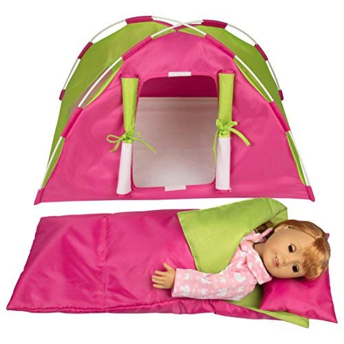 Dress Along Dolly Doll Camping Bed Tent w Sleeping Bag & Pillow - Furniture Accessories for American Girl & 18