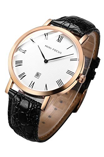 Bestn Men's Analog Quartz Watch Multifunction with Date Leather Band Casual Wrist Watches(Rose Gold Black)