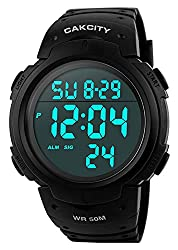best waterproof digital military time watch - Mens Digital Sports Watch LED Screen Large Face Military Watches for Men Waterproof Casual Luminous Stopwatch Alarm Simple Army Watch