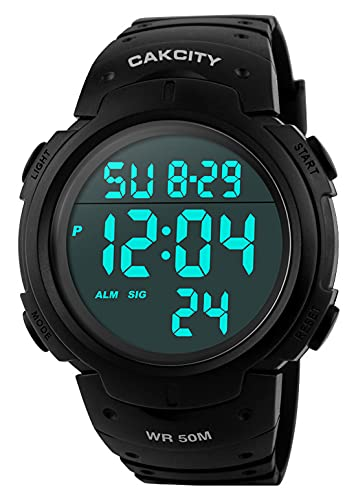 Mens Digital Sports Watch LED Screen Large Face Military Watches for Men...