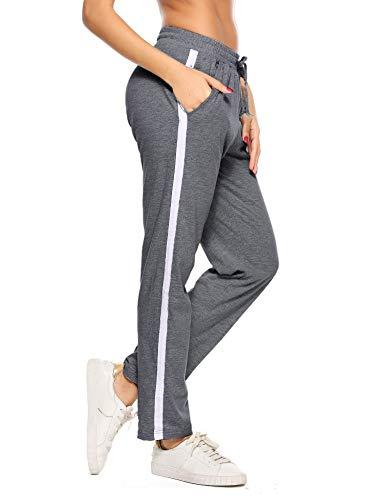 Hawiton Damen Sporthose Streifen Freizeithose Jogging Hose Traininghose Fitness High Waist Lang Baumwolle (Dunkelgrau, Large)