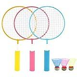 WQM 1 Pair Badminton Racket Children Training Badminton Racket Ball Set Indoor,Outdoor Sport Game Toy Parent-Child Toys Sport Equipment (Yellow Racket)