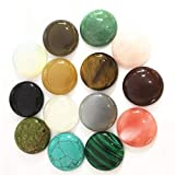 Ochoos Gazelle 12PC Natural Stone Cabochons Round Bead 25mm Tiger Eye Malachite Agates Opal Fashion Beads for Jewelry Making Wholesale - (Color: Mixed Color)