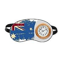 オーストラリアのフラグのレトロ風味のイラスト 睡眠時計旅行昼休み眼帯