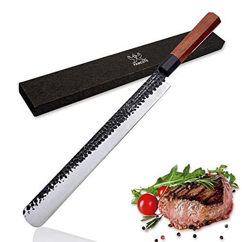 FAMCÜTE 12 Inch Slicing Carving Knife, 3 Layer 9CR18MOV Clad Steel w/octagon Handle brisket knife for Home Kitchen and Restaurant Slicing Brisket Turkey Meat