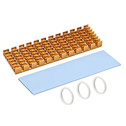 uxcell M.2 Aluminum Heatsink Kit 70x22x6mm Slotted Design Golden Tone with Silicone Thermal Pads for 2280 SSD