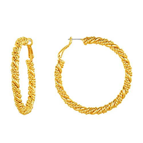 FindChic 50mm Gold Hoops Earrings For Women Medium Golden Hoop Earrings Hypoallergenic Braided Hoops Gold Twisted Hoop Earrings 5cm Chunky Gold Hoop Earrings