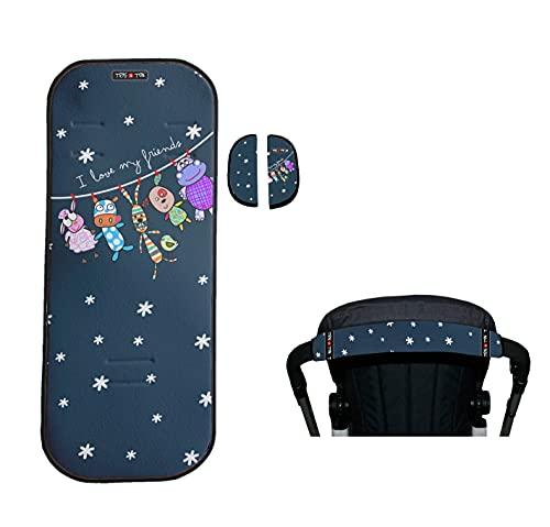 Tris & Ton conjunto colchoneta silla paseo + empuñadura funda protector manillar modelo Friends + protector arneses (Trisyton) (Azul Marino)