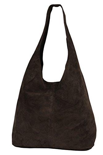AMBRA Moda WL818, pochette, borsa a tracolla, shopper, da donna, in vera pelle, Marrone (Dunkelbraun), X-Large