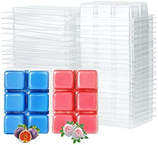Tobeape Wickless Wax Melt Containers, Clear Empty Plastic Wax Melt Clamshells Molds Square 100 Packs for Candle-Making & Soap