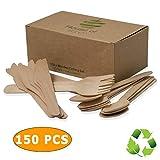 Biodegradable Cubiertos De Madera Conjunto Desechable De 150 Piezas 50X 50X Forks Cuchillos Cucharas 50X Ideal Para Fiestas, Uso Del Hogar, Barbacoa, Camping