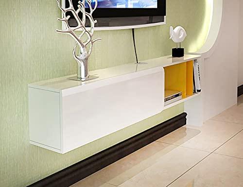 Mueble TV de Pared,Mueble con Soporte para TV Flotante Multifuncional Ultradelgado,Sala de Estar,Dormitorio,Estante para Decodificador Montado en la Pared/Blanco / 120x29.8x23.8cm