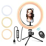 10' Selfie Ring Light with iPhone Tripod Stand & Cell Phone Holder for Live Stream/Makeup, Mini Led Camera Ringlight for YouTube Video/Photography Compatible with iPhone Xs Max XR Android