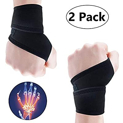 Vodolo (2 Pack) Wrist Brace for Carpal Tunnel - Wrist Wraps Adjustable Hand Wrist Support Reversible Wrist Guard, Arthritis Wrist Compression Wrap Pain Relief, Injury Recovey Left/Right Wrist Straps