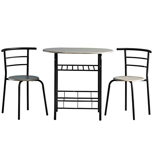 AINPECCA Dining Table Set Small 3pcs Kitchen Set Breakfast Bar Dining Table and Modern Chairs Set Compact Dining Table with Two Chairs MDF with Metal (Black)