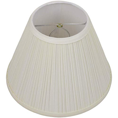 FenchelShades.com Lampshade 5' Top Diameter x 10' Bottom Diameter x 8' Slant Height with Clip-On Attachment for Standard Edison-Style Lightbulb (Pleated Mushroom Cream)
