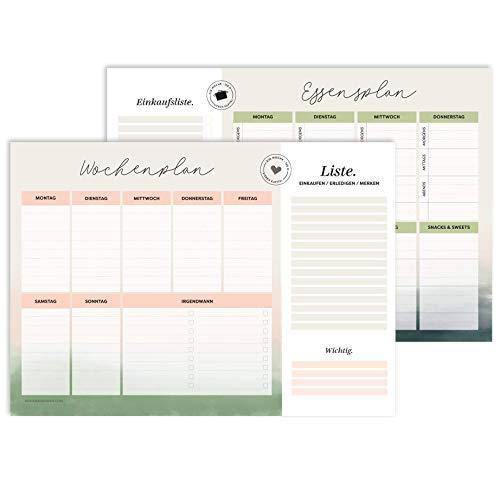 heaven+paper A4 Wochenplaner Block beidseitig | Wochenplan + Essensplan I To-Do-Liste, Einkaufsliste, Merkliste I Modernes & edles Design