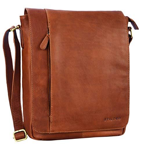 STILORD 'Paul' Umhängetasche Herren Leder Hochformat Messenger Bag im Vintage Design Ledertasche für 13,3 Zoll MacBook iPad DIN A4 Herrentasche Echtleder, Farbe:Cognac - braun