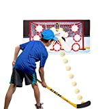 Wallup Games Hockey Game, Hockey Shooting Practice Target Game with Vinyl Wall Mat, Hockey Stick, 2 Indoor Hockey Balls