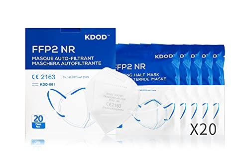 KDOD Mascarillas FFP2 Homologadas, 20 Unidades, CE2163 EN 149:2001 + A1:2009 FFP2 NR