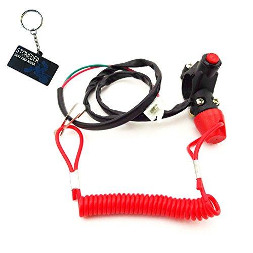 Stoneder Interruptor de parada de seguridad con botón para motor de 2tiempos, tamaño mini de bolsillo para moto, Dirt Bike, ATV, Quad de 4 ruedas, minimoto