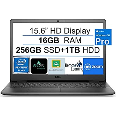 2021 Newest Dell Inspiron 15 Business Laptop Computer 15.6″ HD Display, Intel Quad-Core Pentium N5030(Up to 3.1GHz), 16GB RAM, 256GB SSD+1TB HDD, WiFi, Bluetooth, HDMI, Webcam, Windows 10 PRO, Gift MP