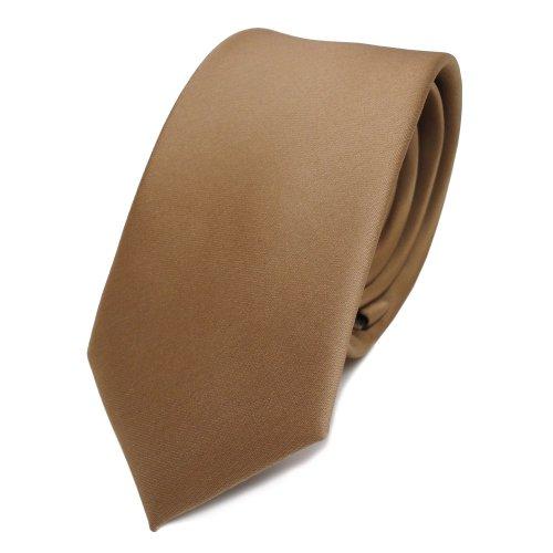 TigerTie schmale Satin Krawatte in gold einfarbig uni