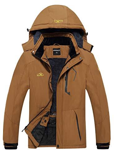 Men's Waterproof Ski Jacket Fleece Windproof Mountain Winter Snow Jacket Warm Outdoor Sports Rain Coat with Hooded U220WCFY028,New.Coffee,M