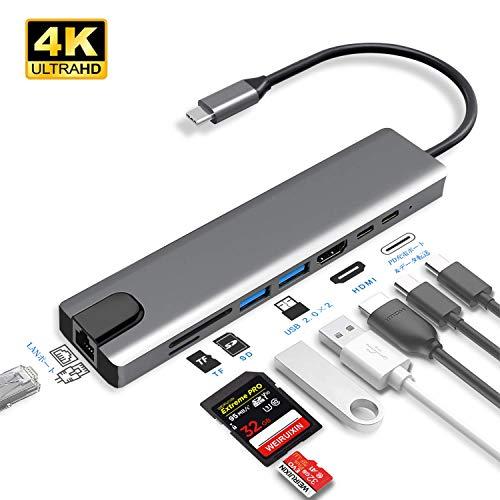 USB C ハブ Type-C 8in1 HUBマルチ変換アダプター 100WPD出力対応 LANポート /2つのUSB-Cポート / 100W出力...