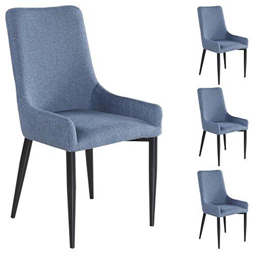 IDIMEX 4er Set Esszimmerstuhl Küchenstuhl Stuhlgruppe Essstuhl Stuhl Kylie Stoff blau