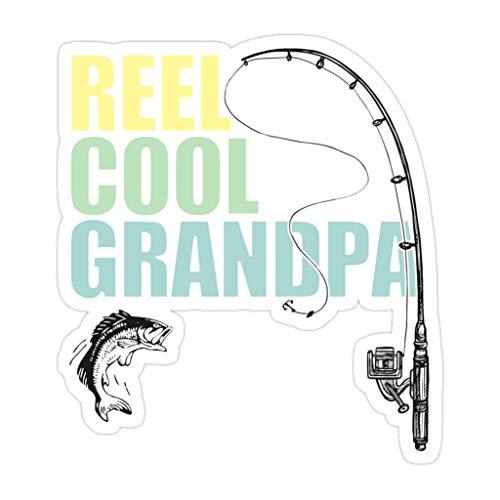 DKISEE 3 piezas de carrete de pesca para abuelo, Cool Grandpa – Pegatinas troqueladas de 4 pulgadas para laptop, ventana, coche, botella de agua