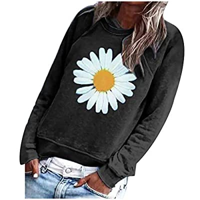 Women's Long Sleeve Sweatshirt Daisy Printed O-Neck Loose Pullover Casual Blouse Tops