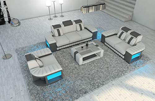 Sofa Dreams Leder Couchgarnitur 321 Bellagio Weiss-grau