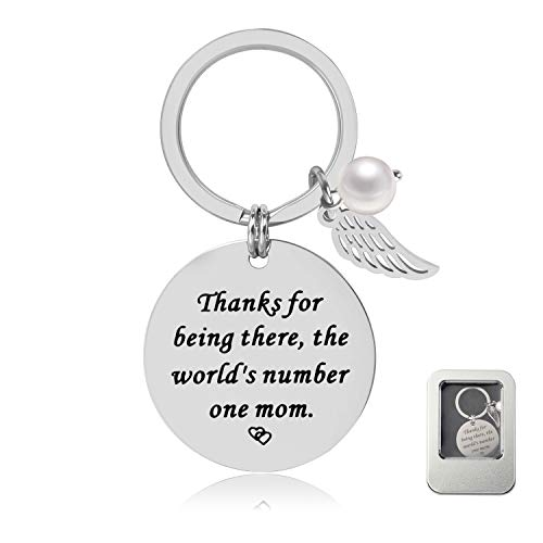 Mother/Mom Gifts for Mother's Day - Thanks for Being There, The World's Number One Mom Keychain, Birthday Gifts for Mom
