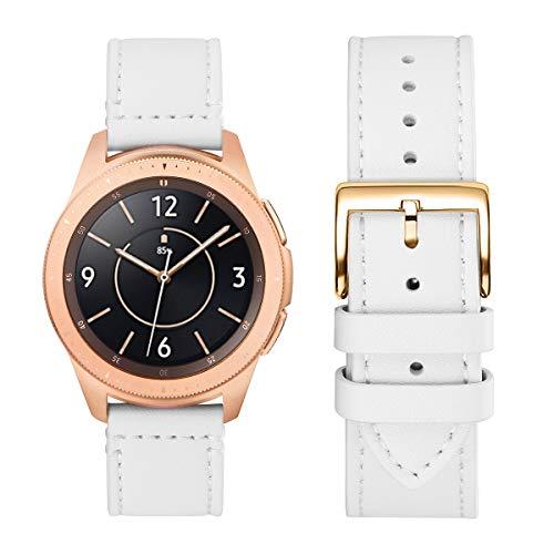 WFEAGL Kompatibel mit Samsung Galaxy Watch Armband 42mm/Gear S2 Classic/Gear Sport/Huawei Watch 2/Huawei Watch GT Elegant,20mm Leder Ersatzband(20mm,Weiße/Gloden)
