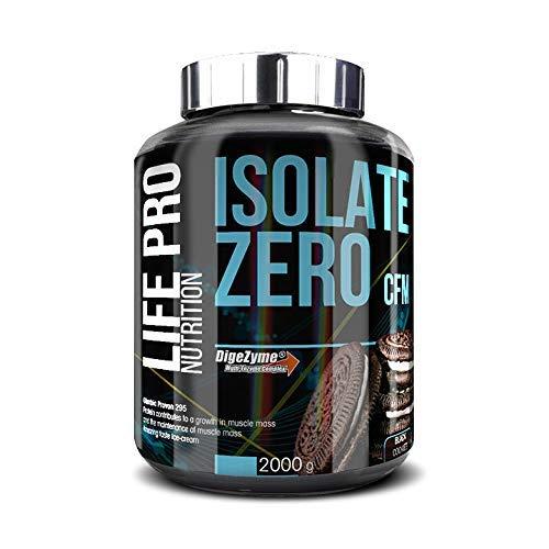 Life Pro Isolate Zero 2Kg   Suplemento Deportivo de Aislado de Proteína de Suero 87%, Mejora Rendimiento Físico y Recuperación, Sabor Black Cookies