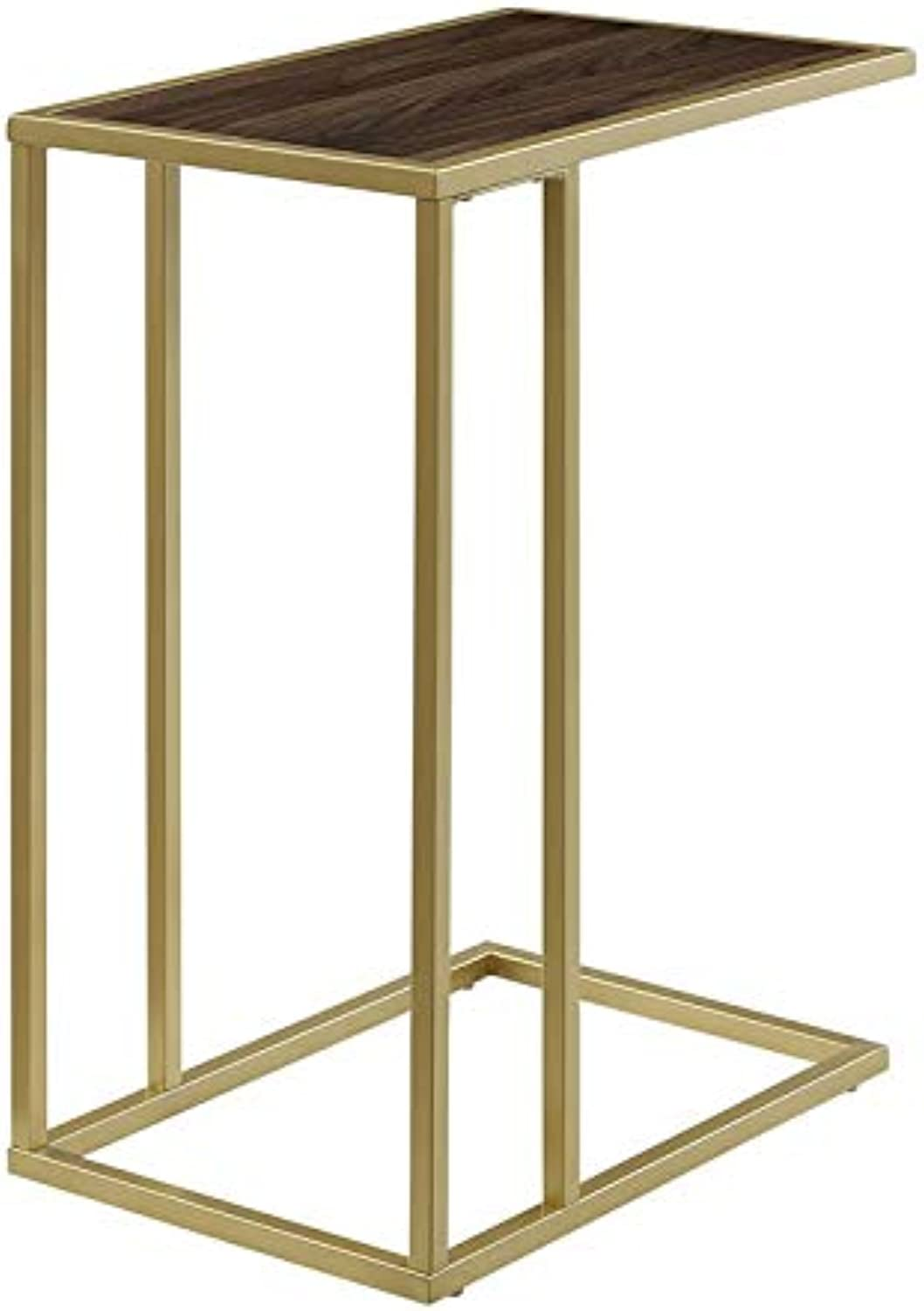 Pemberly Row 20  Side Table in Dark Walnut and gold