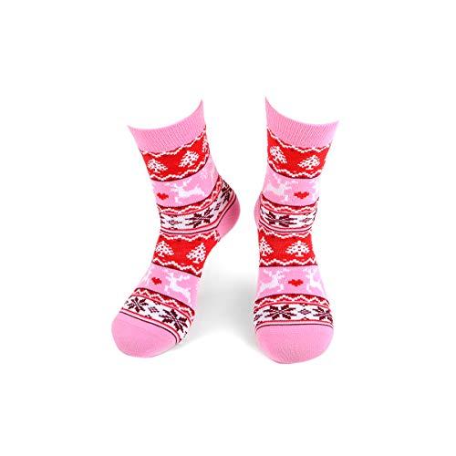 Damen Wintermuster Neuheit Socken mit Rentier und Weihnachtsbäumen in Rosa und Rot