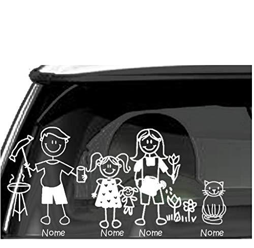 Sorrydenti adesivo famiglia a bordo nomi personalizzato family sticker stickers auto macchina camper (5 personaggio)