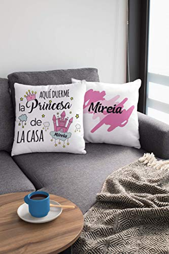 Saquitomagico kussen met naam voor de koningen van het huis. Aqui Duerme .de la Casa