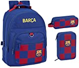 FC Barcelona - Mochila, 2 compartimentos rellenos y estuche escolar