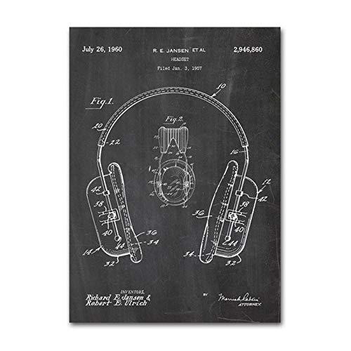 YIBINGLI Dj Ausrüstung Vintage Poster und Drucke Dj Kopfhörer Patent Blueprint Wandkunst Drucke Gemälde Bilder Moderne Wohnkultur 50x70cm Ungerahmt