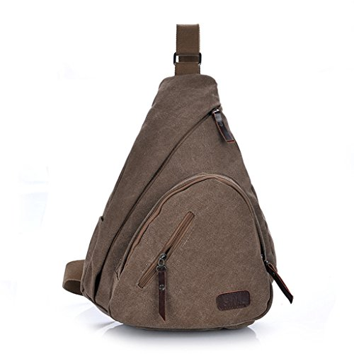 ENKNIGHT Canvas Men Chest Bag Sling Bag Hiking Pack Travel Bag Coffee