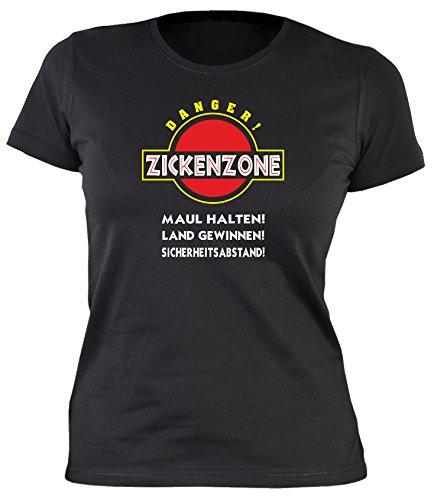 Sprüche Fun Tshirt Zickenzone - Maul halten! Land gewinnen! Sicherheitsabstand! (Größe: M) Gr M in schwarz :