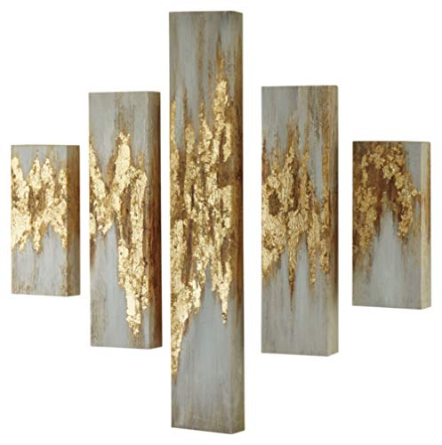 Signature Design by Ashley - Devlan Wall Art - Set of Five - Contemporary Glam - Gold Finish/White
