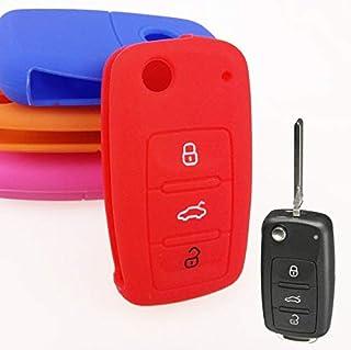 Key Rings - 3 BUTTON FIT for for VW SEAT SKODA POLO PASSAT B5 GOLF 4 5 6 JETTA CC GTI TIGUAN BORA EOS BEETLE SILICONE KEY ...