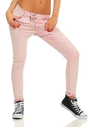 Fashion4Young 11105 Damen Jeans Hose Boyfriend Baggy Haremsjeans Slim-fit Röhre Damenjeans Pants (Altrosa, M-38)