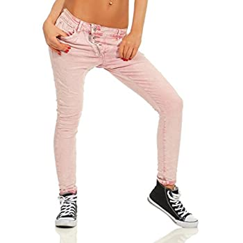 Fashion4Young 11105 Damen Jeans Hose Boyfriend